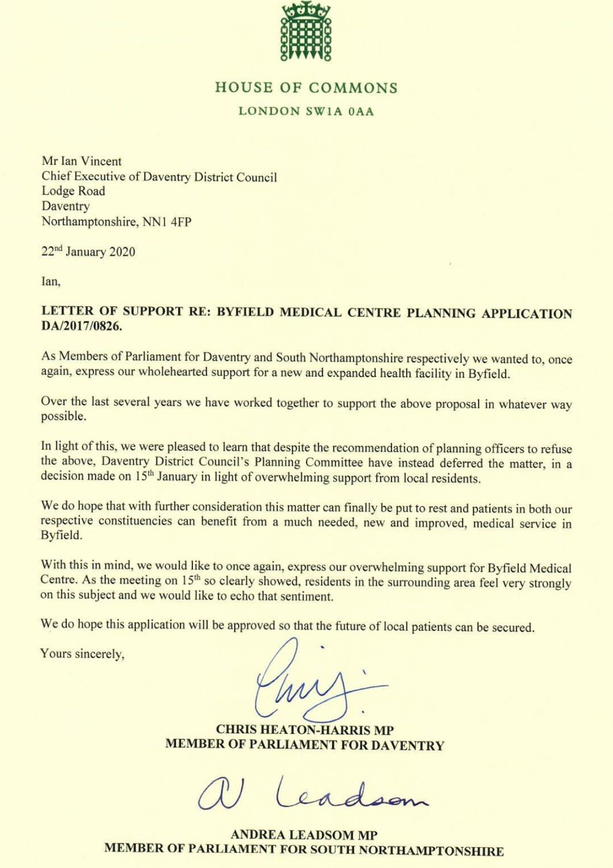 Letter of support re: Byfield Medical Centre Planning Application DA/2017/0826. The text for this letter can be found below.